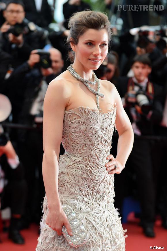 """Jessica Biel accompagnait Justin Timberlake sur le tapis rouge du Festival de Cannes pour la première de """"Inside Llewyn Davis"""", le 19 mai 2013."""