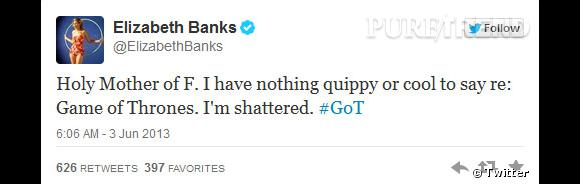 """Elizabeth Banks, qu'on verra bientôt dans """"Hunger Games 2"""", a avoué que l'épisode l'avait brisé."""
