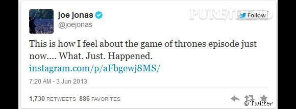 Joe Jonas a même tenu à illustrer son sentiment face à l'épisode.