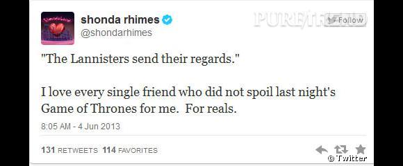 """Shonda Rhimes, créatrice de """"Grey's Anatomy"""" et """"Scandal"""", a remercié ses amis, qui ne l'ont pas spoilé avant qu'elle ait vu l'épisode. On la comprend !"""