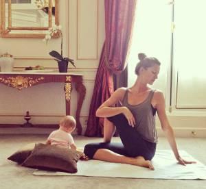 Gisele Bundchen : collee a son bebe, meme pendant le yoga !