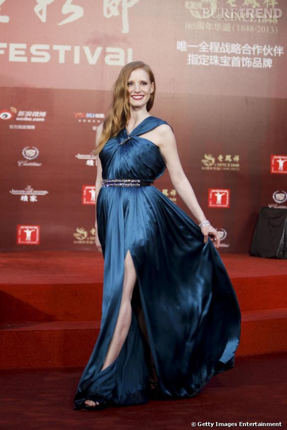Jessica Chastain porte une robe Lanvin très apprêtée pour le festival du cinéma en Chine.