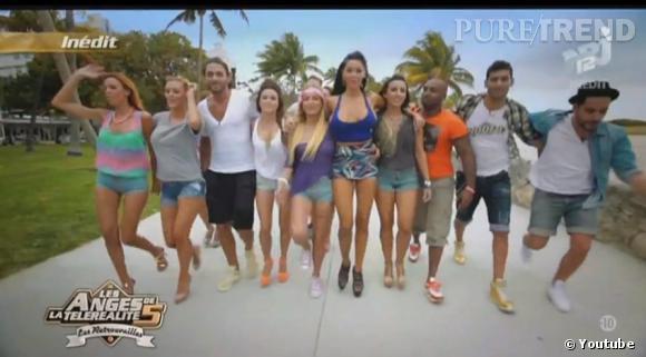 """Nabilla et tous les Ange de la télé-réalité dans le clip officiel de """"Ocean Drive Avenue""""."""