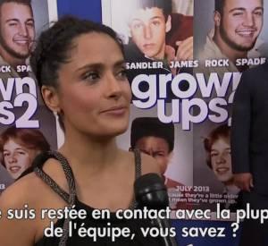 """""""Copains pour toujours 2"""" : Salma Hayek, Adam Sandler et Taylor Lautner présentent le film à l'avant-première."""