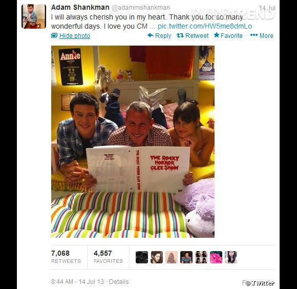 Le réalisateur Adam Shankman partage une photo de tournage avec Cory et Lea Michele.