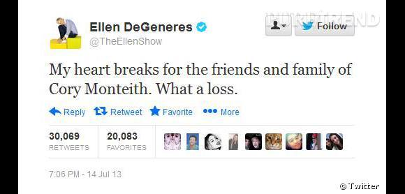 L'animatrice Elle DeGeneres envoie ses pensées à la famille.