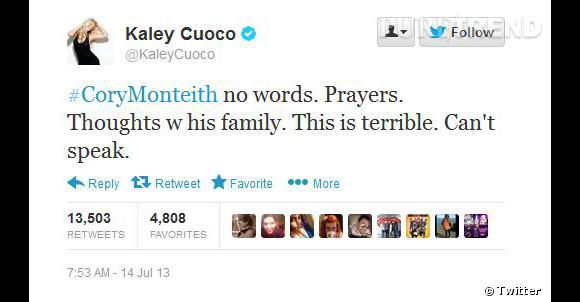 L'actrice Kaley Cuoco apporte son soutien à la famille.
