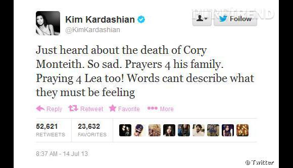 Même Kim Kardashian s'exprime sur Twitter.