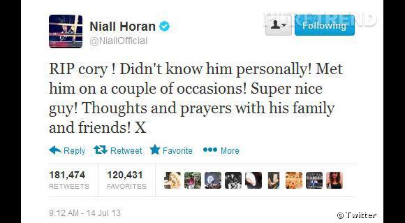 Le chanteur des One Direction Niall Oran s'associe aux stars hollywoodiennes pour rendre hommage à Cory.