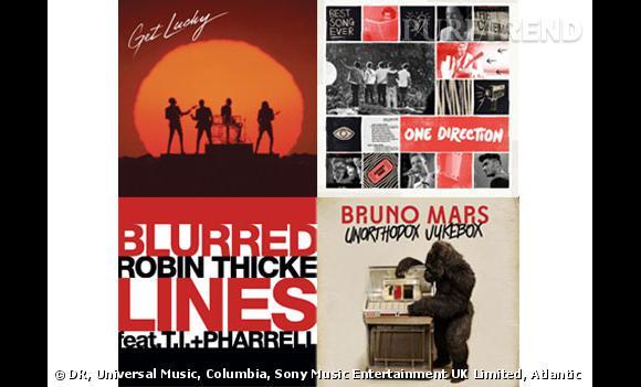 """""""Get Lucky"""" de Daft Punk ft Pharrell, """"Treasure"""" de Bruno Mars, """"Best Song Ever"""" des One Direction ou encore """"Blurred Lines"""" de Robin Thicke ft TI et Pharrell : les tubes de l'été 2013"""