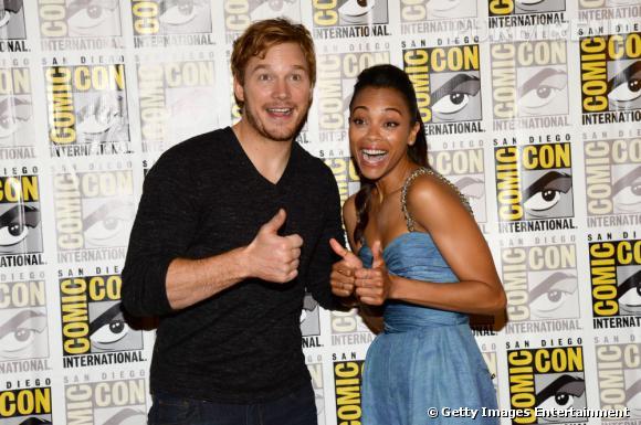 """Chris Pratt et Zoe Saldana pour """"Guardians of the Galaxy"""" au Comic-Con 2013."""