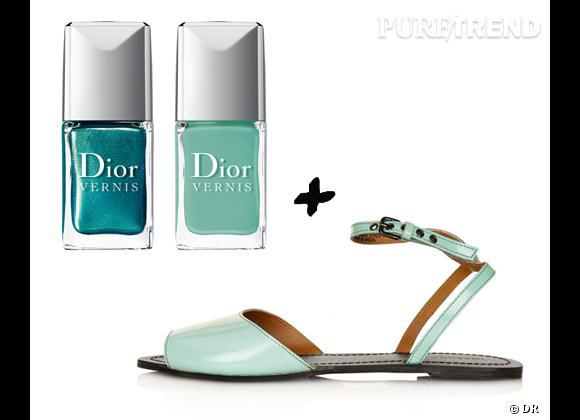 Nos combinaisons mode et beauté de l'été : Vernis duos d'été Samba, collection Bird of Paradise, Dior, 27 € + nu-pieds sandales Topshop, 33 €