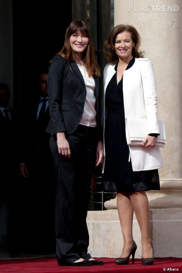 Carla Bruni-Sarkozy et Valerie Trierweiler : échange de conseils entre Premières dames.