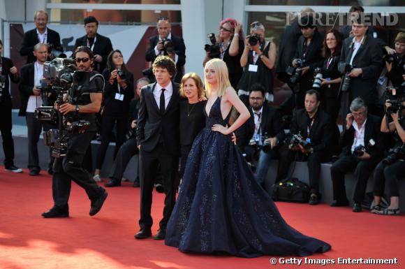 Jesse Eisenberg, la réalisatrice Kelly Reichardt et Dakota Fanning à Venise.
