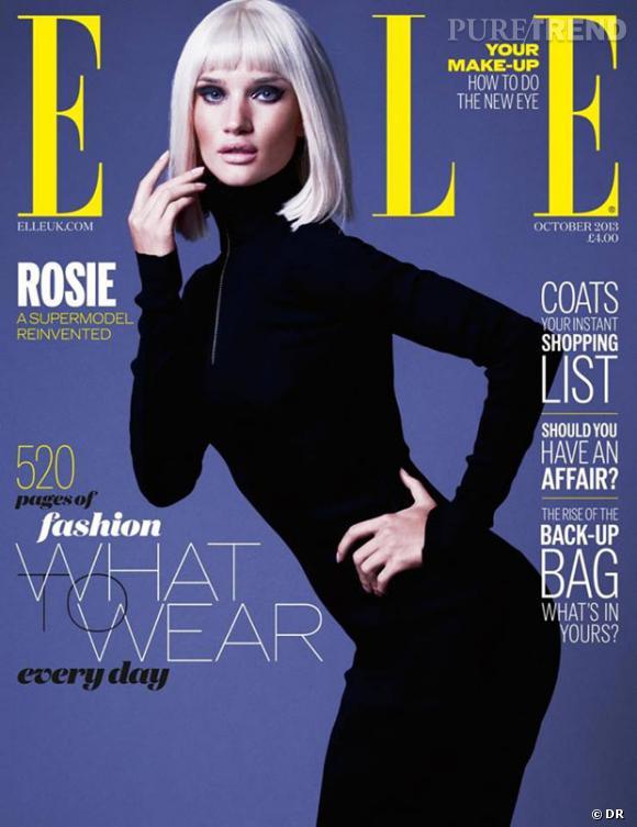 Rosie Huntington-Whiteley fait la couv d'octobre du ELLE UK.
