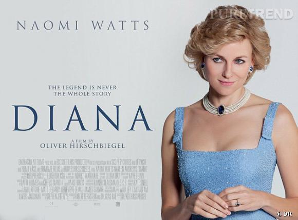 """Naomi Watts, sosie parfait de Lady Di sur l'affiche du film à venir """"Diana""""."""
