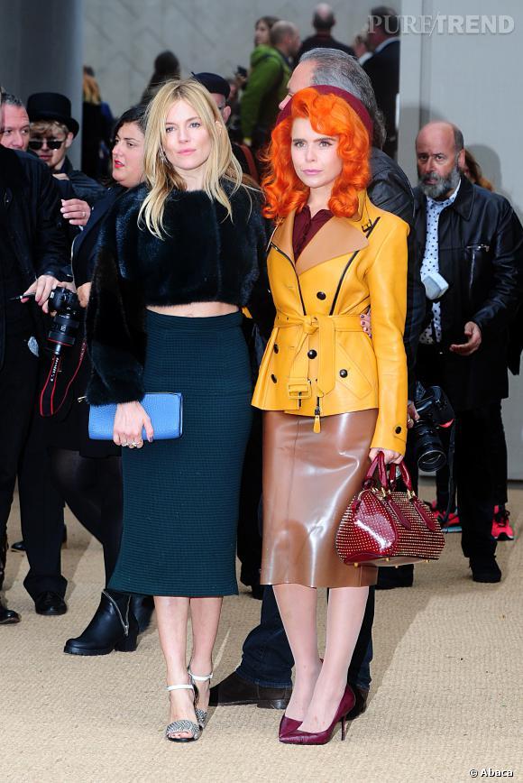 Sienna Miller et Paloma Faith au défilé Printemps-Été 2014 Burberry Prorsum.