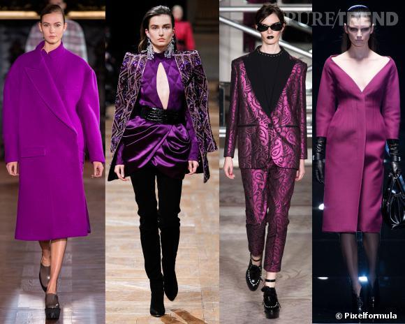 Les couleurs tendances de l'AW 13/14 : le violet     Défilés Stella McCartney, Balmain, Moschino Cheap & Chic et Gucci