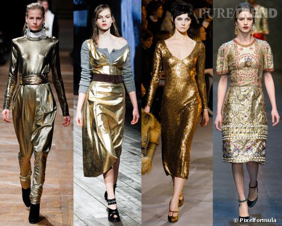 Les couleurs tendances de l'AW 13/14 : l'or     Défilés Balmain, Prada, Marc Jacobs et Dolce & Gabbana