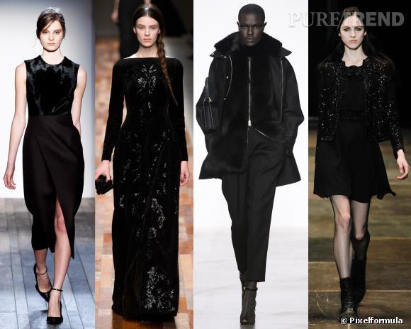 Les couleurs tendances de l'AW 13/14 : le noir     Défilés Victoria Beckham, Valentino, Giambattista Valli et Saint Laurent