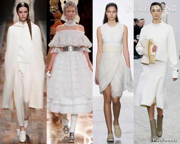Les couleurs tendances de l'AW 13/14 : le blanc neige     Défilés Valentino, Alexander McQueen, Giambattista Valli et Céline