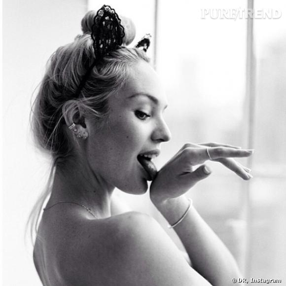 Candice Swanepoel, petit chat sexy pour un shooting photo.