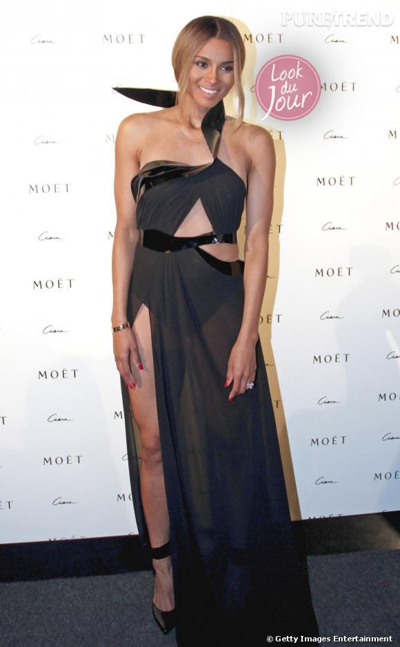 Ciara fait sensation dans une robe Alon Livne lors du Moet Rose Lounge à l'Hôtel Derek de Houston au Texas le 28 octobre 2013.