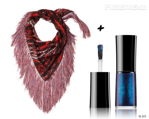 Duos mode et beauté glamour : foulard Isabel Marant x H&M, 39,95 € + vernis à ongles Nail Lacquer Giorgio Armani, 27 €