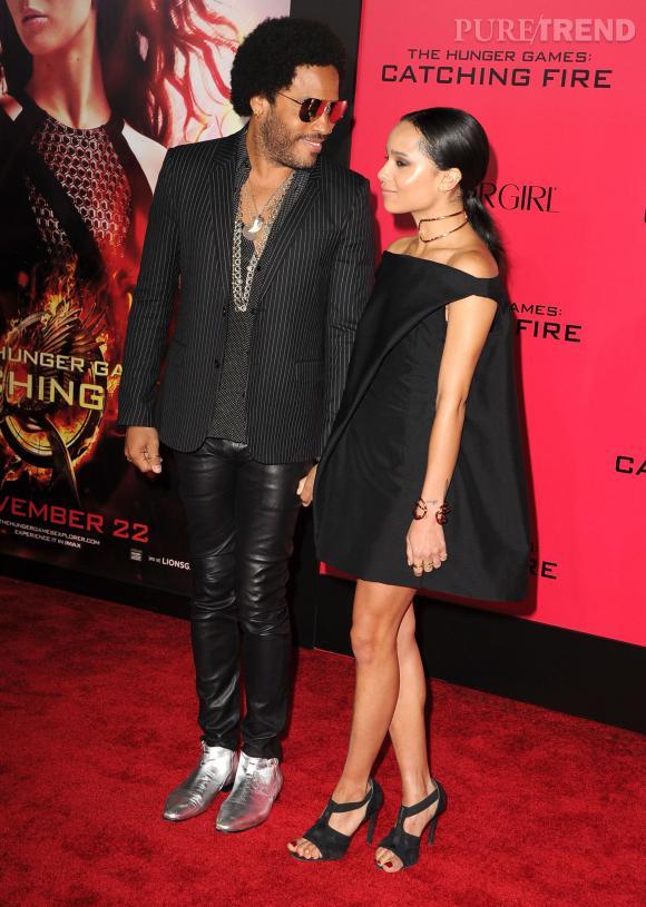 """Lenny Kravitz et Zoë Kravitz à la première de """"Hunger Games : l'embrasement"""" à Los Angeles."""