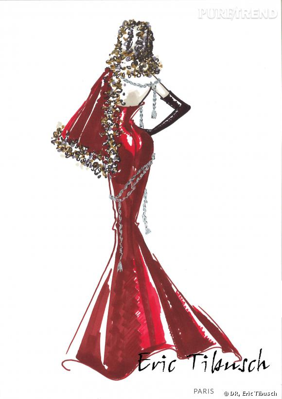 La robe des demi-finalistes créée par Eric Tibusch pour Miss France 2014.
