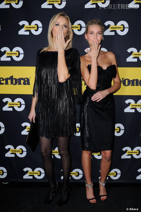 Adriana Karembeu et Adriana Cernanova aux 20 ans de Wonderbra au Très Honoré à Paris.
