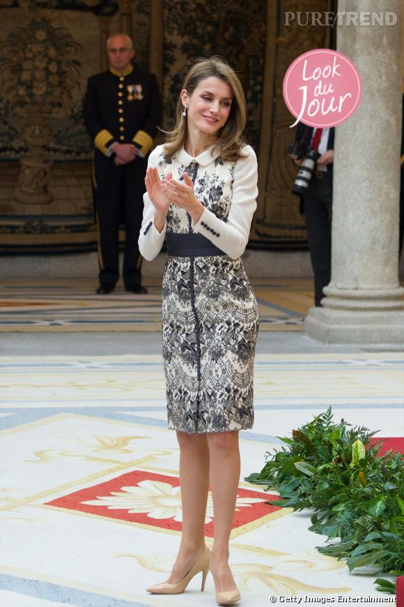 Letizia Ortiz assiste à la cérémonie de remise des médailles d'or en arts appliqués 2013 au palais El Pardo à Madrid.