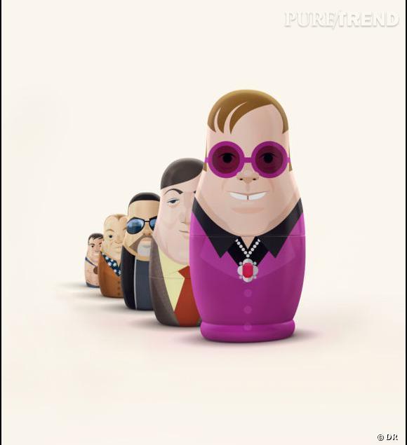 Elton John en poupée russe, une icône gay qui défend les homosexuels de Russie.