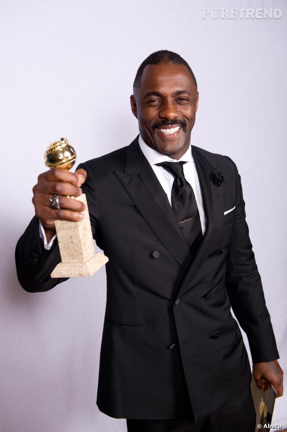 """Idris Elba et son Golden Globe pour """"Luther""""."""