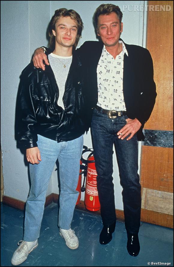 Johnny Hallyday et son fils David qu'il a eu avec Sylvie Vartan.