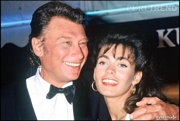 Johnny Hallyday et Adeline Blondieau. Ils se marient en juillet 1990 et se séparent en juin 1992... mais se remarient en avril 1994 et se séparent définitivement en mai 1995.