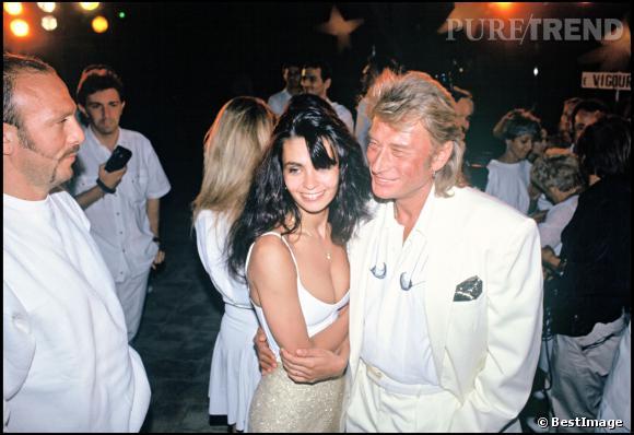 Johnny Hallyday et Adeline en 1991.