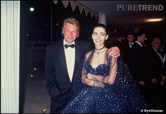 Johnny Hallyday et Adeline au Festival de Cannes en 1992.