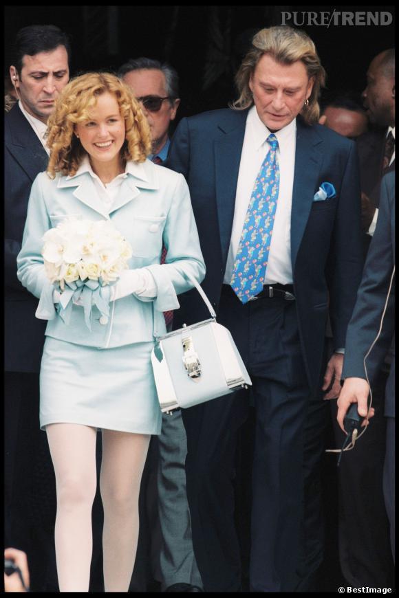 Johnny Hallyday et Laeticia Hallyday le jour de leur mariage en 1996.