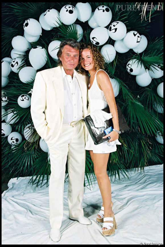 Johnny Hallyday et Laeticia Hallyday lors de la Soirée Blanche organisée par Eddie Barclay en 1995.