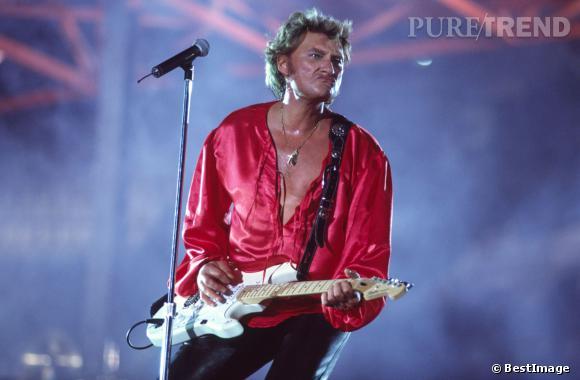 Johnny Hallyday en concert au Parc des Princes en 1993.