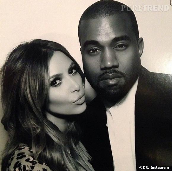 Les futurs mariés : Kim Kardashian et Kanye West.