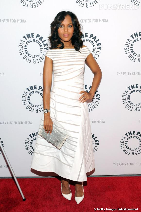 Kerry Washington en total look blanc avec aux pieds un modèle Christian Louboutin.