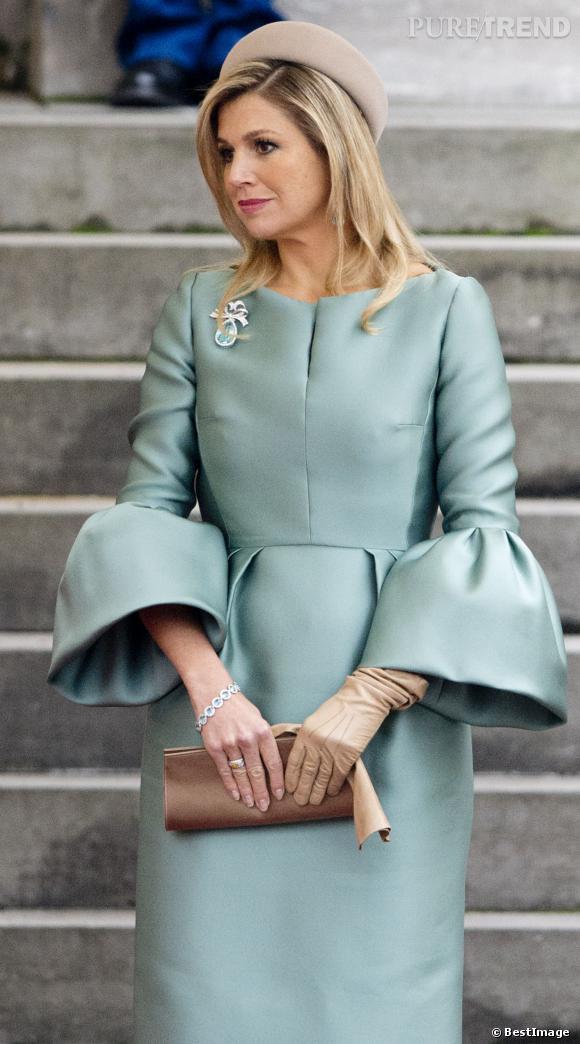 Reine Maxima des Pays Bas en flagrant délit de recyclage de tenue pour la visite de François Hollande, le 20 janvier 2014.