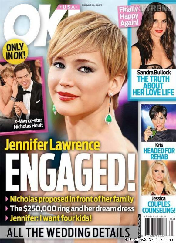 Une du magazine OK! avec Jennifer Lawrence