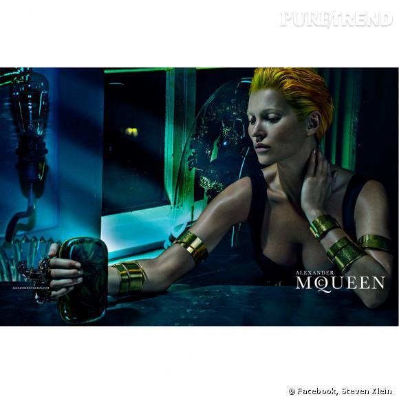 Kate Moss pose pour la campagne Printemps-Été 2014 d'Alexander McQueen.