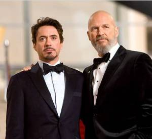 "Robert Downey Jr et Jeff Bridge (Obadiah Stane) dans ""Iron Man""."