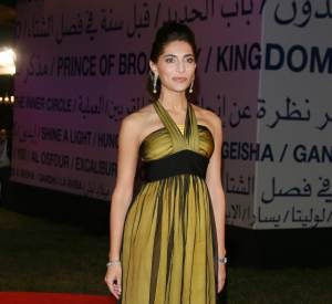 Caterina Murino, divine dans une robe vert anis auFestival du Film de Marrakech en 2008.