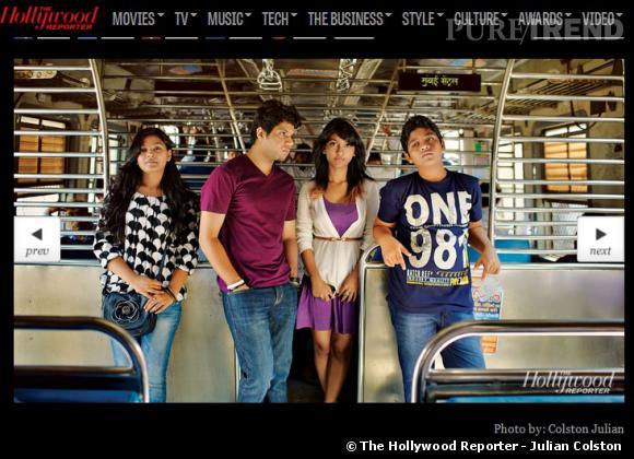 """Les jeunes acteurs de """"Slumdog Millionaire"""" réunis par The Hollywood Reporter."""