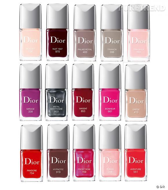 Découvrez 15 des 21 teintes des vernis Dior Couture effet gel.
